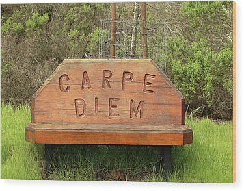 Wood Print featuring the photograph Carpe Diem Bench by Art Block Collections