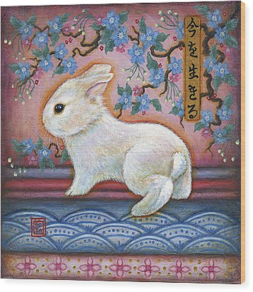 Carpe Diem Rabbit Wood Print by Retta Stephenson