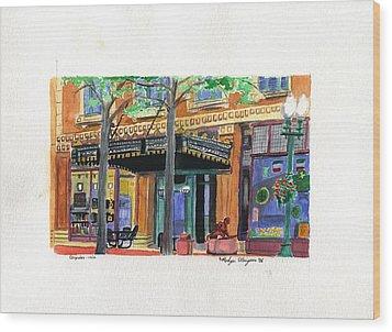 Carpenter Hotel-rain Wood Print by Rodger Ellingson