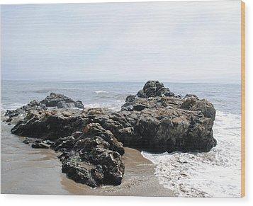 Carpinteria State Beach Rocks Wood Print by Bransen Devey
