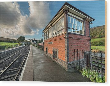 Wood Print featuring the photograph Carrog Signal Box by Adrian Evans