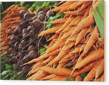 Carrots And Beets Wood Print by Cathie Tyler