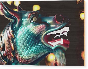 Carrousel Dragon Horse Wood Print