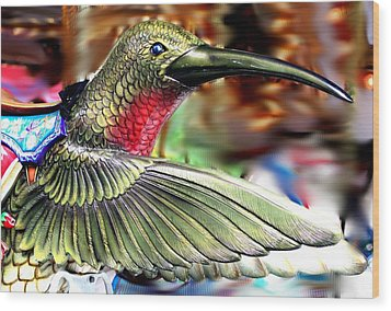 Carrousel Hummingbird Wood Print by Diane Merkle