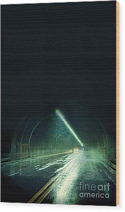 Cars In A Dark Tunnel Wood Print by Jill Battaglia