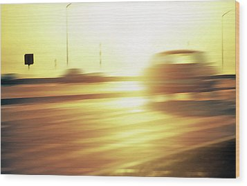 Cars On Freeway 3 - Evening Commute Wood Print by Steve Ohlsen