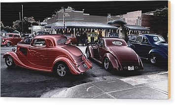 Cars On The Strip Wood Print