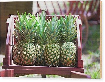 Cart Of Pineapples Wood Print by Walt Stoneburner