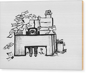 Cartoon Desk Wood Print