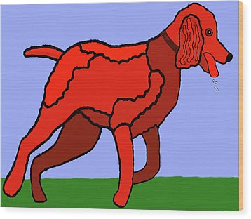 Cartoon Romping Miniature Apricot Poodle Wood Print
