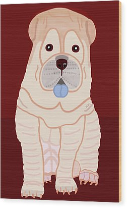 Cartoon Shar Pei Wood Print by Marian Cates