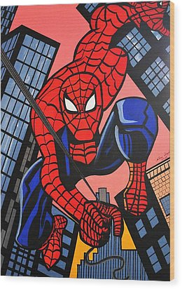 Cartoon Spiderman Wood Print