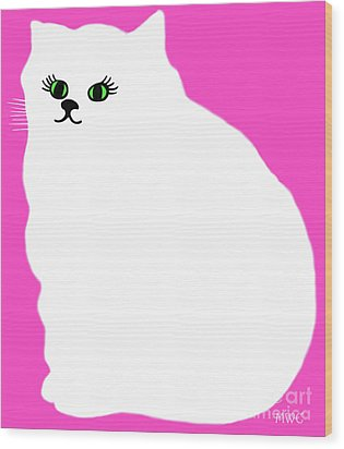 Cartoon Plump White Cat On Pink Wood Print