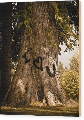 Carve I Love You In That Big White Oak Wood Print