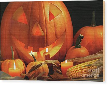 Carved Pumpkin With Candles Wood Print