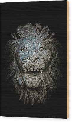 Carved Stone Lion's Head Wood Print by Loriental Photography
