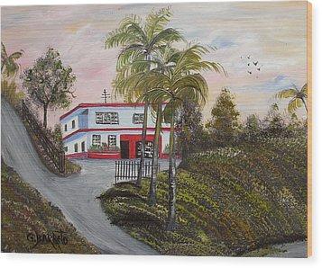Casa En Montanas De Cerro Gordo Wood Print by Gloria E Barreto-Rodriguez