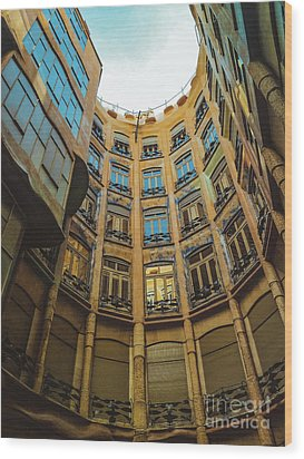 Wood Print featuring the photograph Casa Mila - Barcelona by Colleen Kammerer