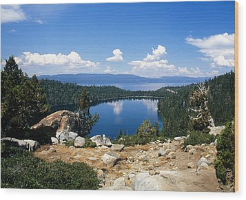 Cascade Lake And Lake Tahoe Wood Print by Troy Montemayor