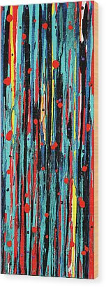 Wood Print featuring the painting Cascade Pour by Carolyn Repka