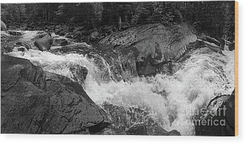 Cascade Stream Gorge, Rangeley, Maine  -70756-70771-pano-bw Wood Print