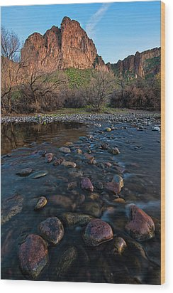 Wood Print featuring the photograph Cascades In The Salt River At Sunset by Dave Dilli