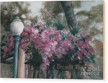 Wood Print featuring the painting Cascading Flowers by Brenda Thour