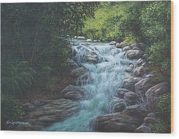Wood Print featuring the painting Cascading Stream by Kim Lockman