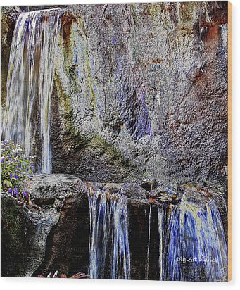 Cascading Water Solarized Wood Print by DigiArt Diaries by Vicky B Fuller