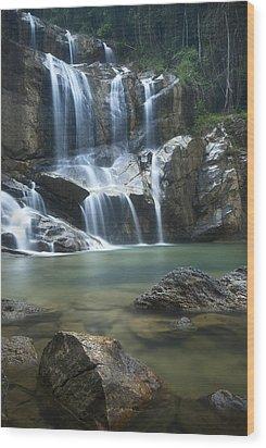 Cascading Waterfalls Wood Print by Ng Hock How