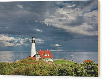 Wood Print featuring the photograph Casco Bay Lookout by Susan Cole Kelly