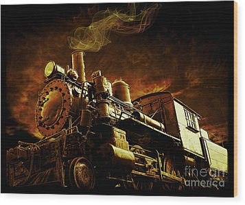 Casey Jones And The Cannonball Express Wood Print by Edward Fielding