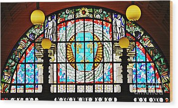 Casino Stained Glass Wood Print by Sarah Loft