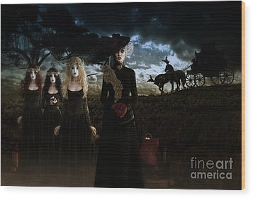 Wood Print featuring the digital art Casquette Brides Arrival by Shanina Conway