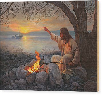 Cast Your Nets On The Right Side Wood Print by Greg Olsen