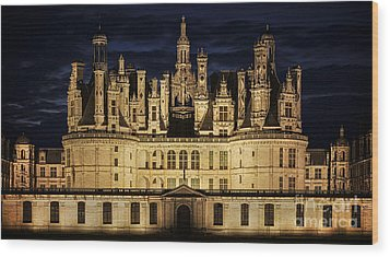 Wood Print featuring the photograph Castle Chambord Illuminated by Heiko Koehrer-Wagner