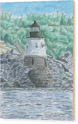 Castle Hill Lighthouse Wood Print by Dominic White