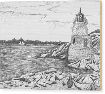 Castle Hill Lighthouse Wood Print by Lawrence Tripoli
