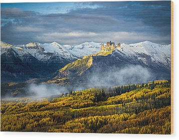 Wood Print featuring the photograph Castle In The Clouds by Phyllis Peterson