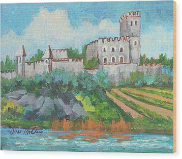 Wood Print featuring the painting Castle On The Upper Rhine River by Diane McClary