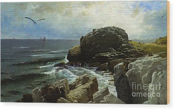 Wood Print featuring the digital art Castle Rock - Marblehead by Lianne Schneider