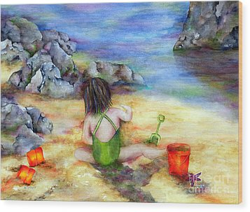 Castles In The Sand Wood Print by Winona Steunenberg