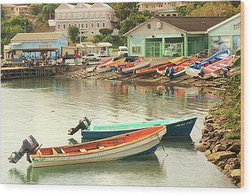 Castries Harbor Waterfront Wood Print by Roupen  Baker