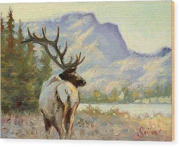 Casual Walk Elk Wood Print by Larry Seiler