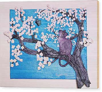 Cat Among The Cherry Blossoms Wood Print by Sarah Swift