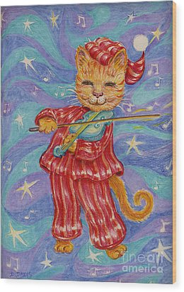 Wood Print featuring the drawing Cat And A Fiddle by Dee Davis