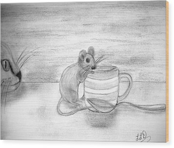 Cat And Mouse Wood Print by Laura DAddona