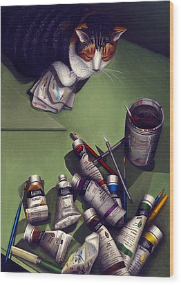 Cat And Paint Tubes Wood Print by Carol Wilson