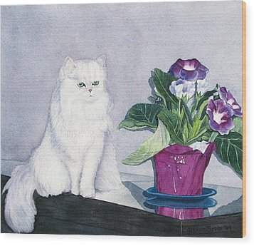 Cat And Potted Plant Wood Print by Sharon Farber