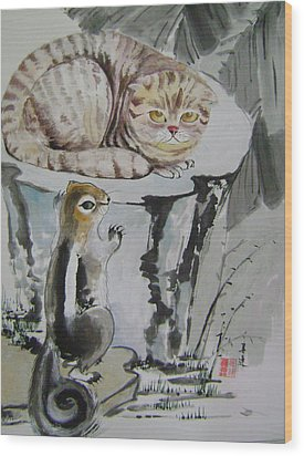 Cat And Squirrel Wood Print by Lian Zhen